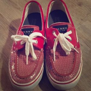Women's red Sperry top-sider